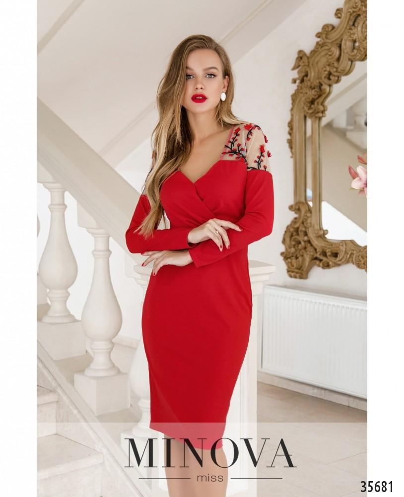 Платье №1886-красный