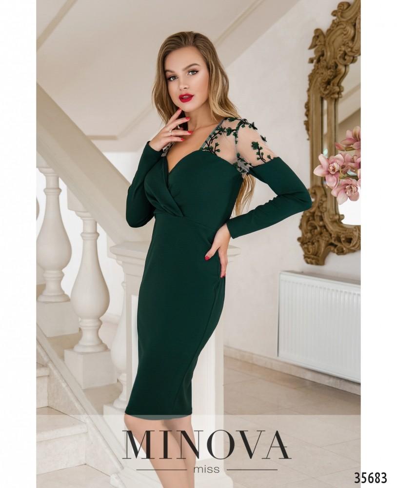 Платье №1886-темно-зеленый