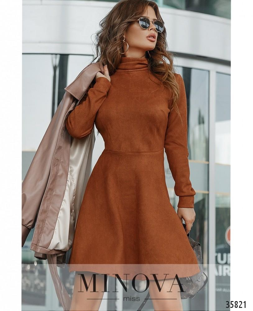 Платье №724А-коричневый