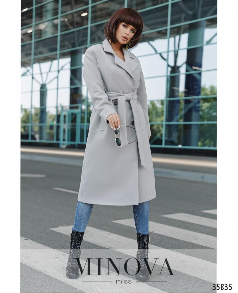 Пальто №721А-серый
