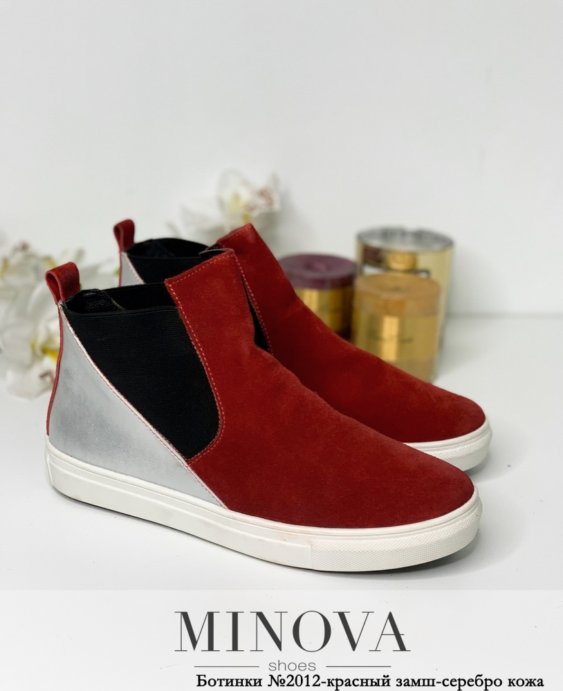 Ботинки ЦГ№2012-красный замш-серебро кожа