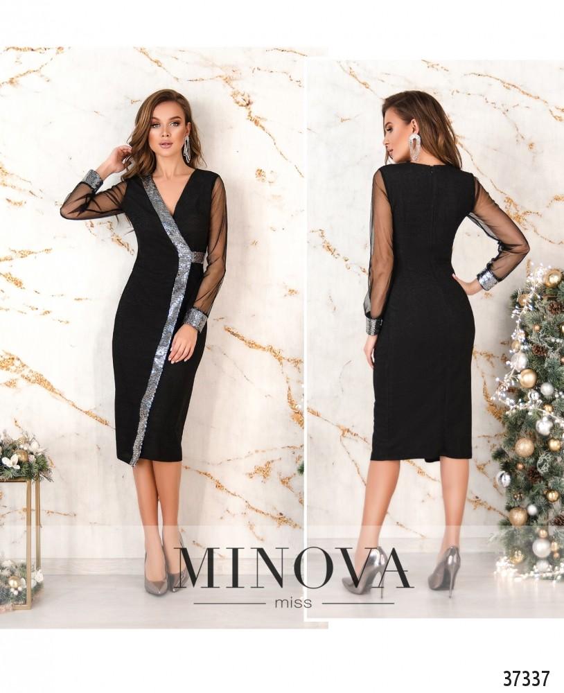 Платье №2155-черное-серебро (н)