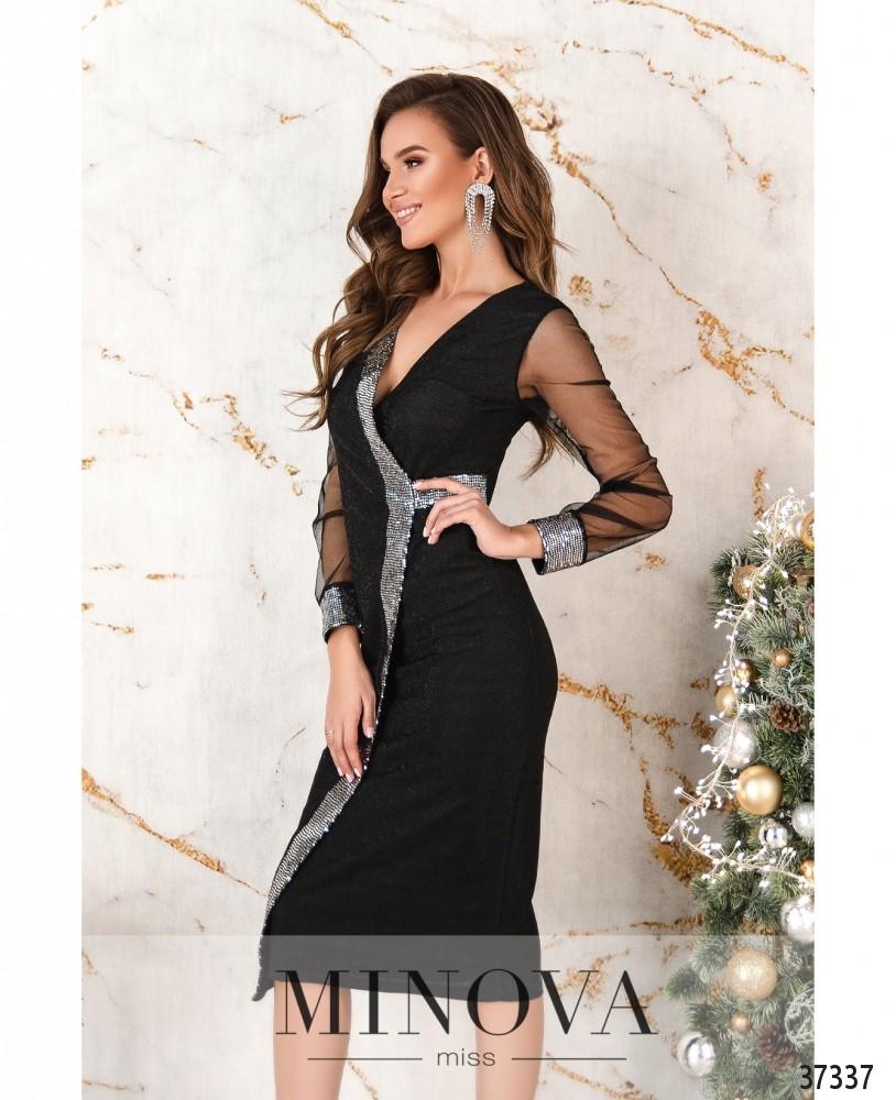 Платье №2155-черное-серебро