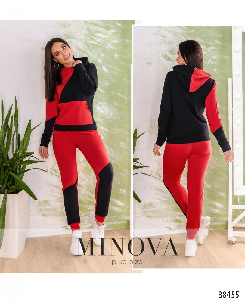 Спортивный костюм №223-красно-черный-М