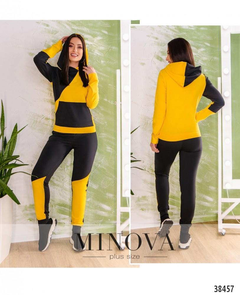 Спортивный костюм №223-черно-желтый-М