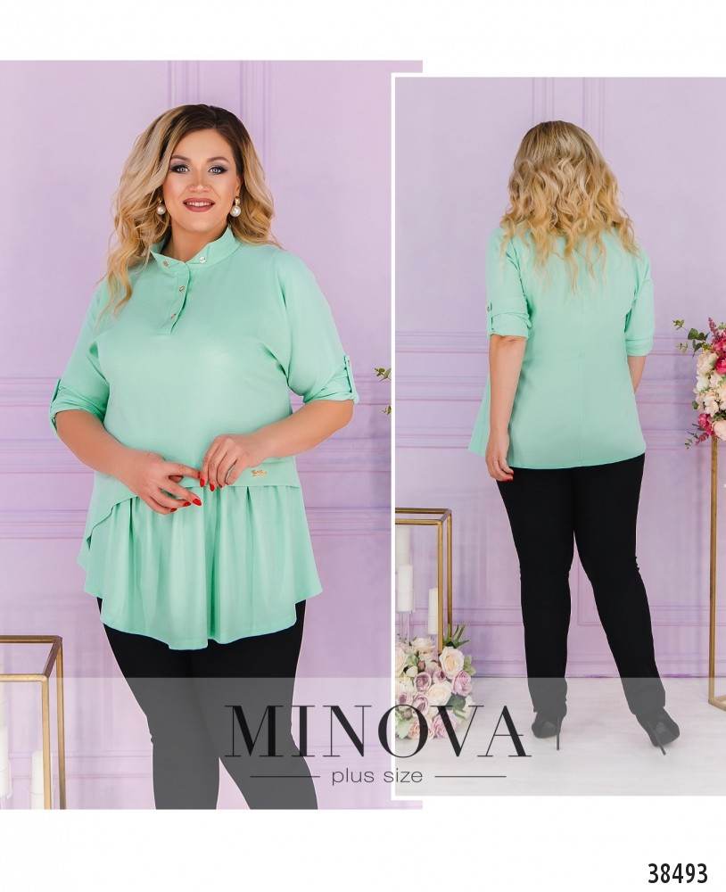 Рубашка №3323-ментол-М