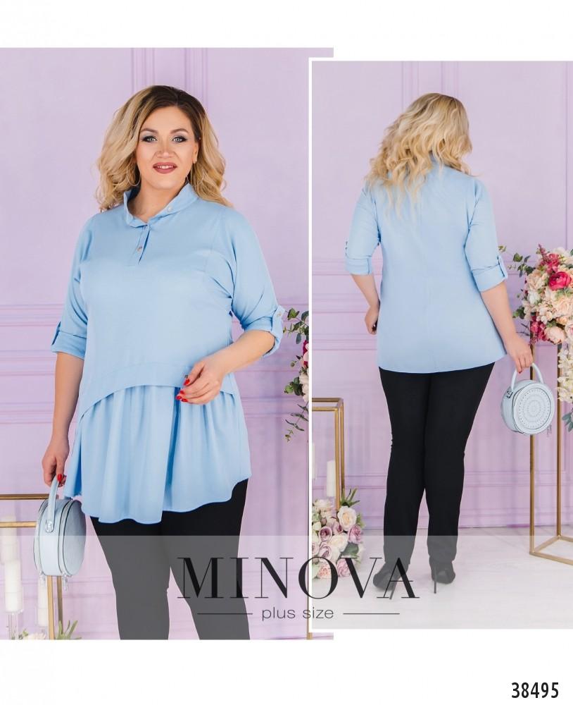 Рубашка №3323-голубой-М