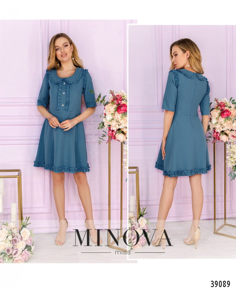 Платье №1638-голубой-М