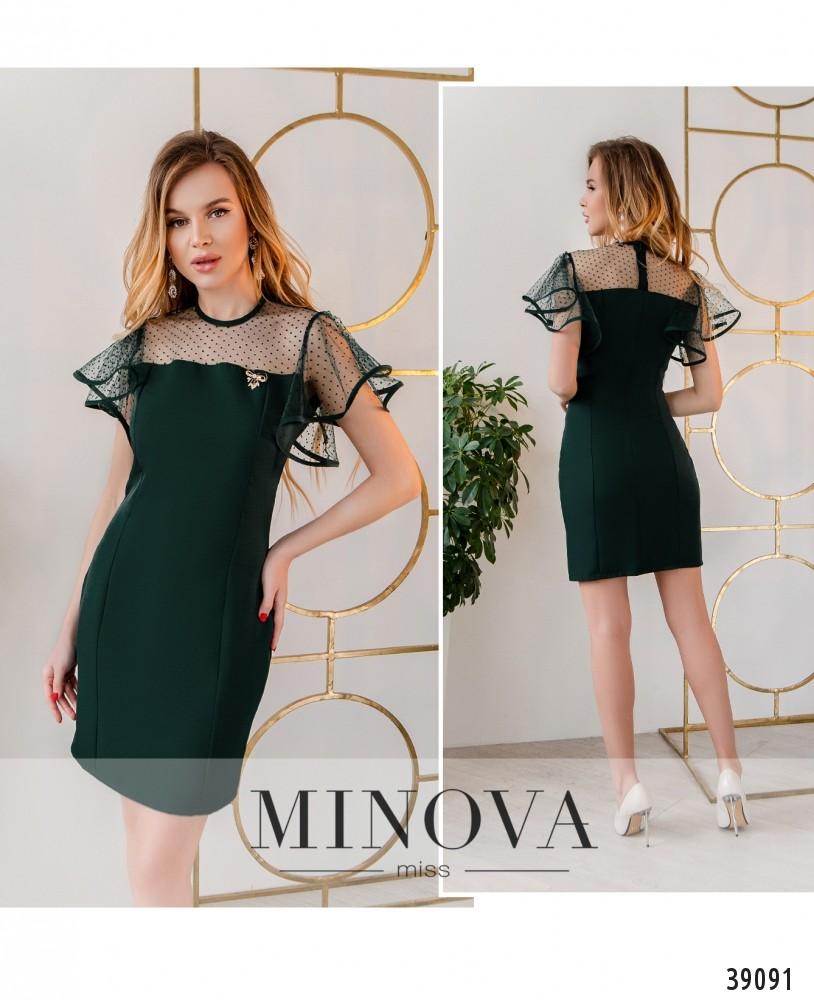 Платье №253Н-темно-зеленый-М