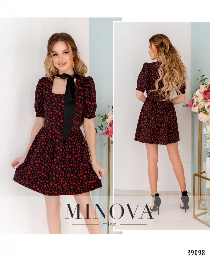 Платье №248Н-черный-красный-М