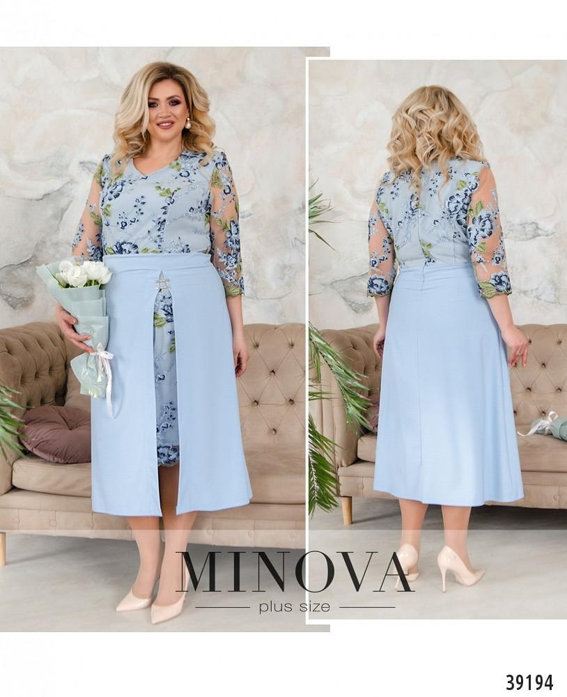 Платье №421Б-голубой-М