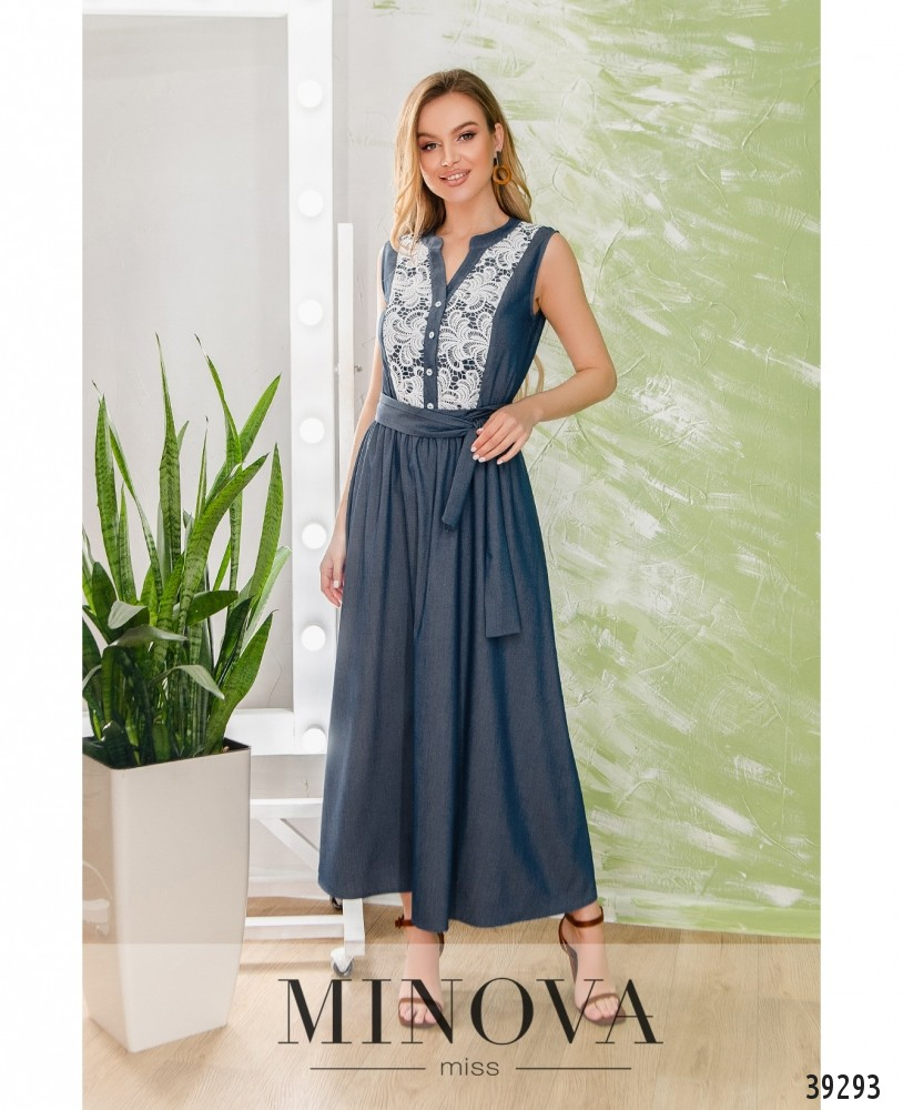 Платье №1906-синий (н)