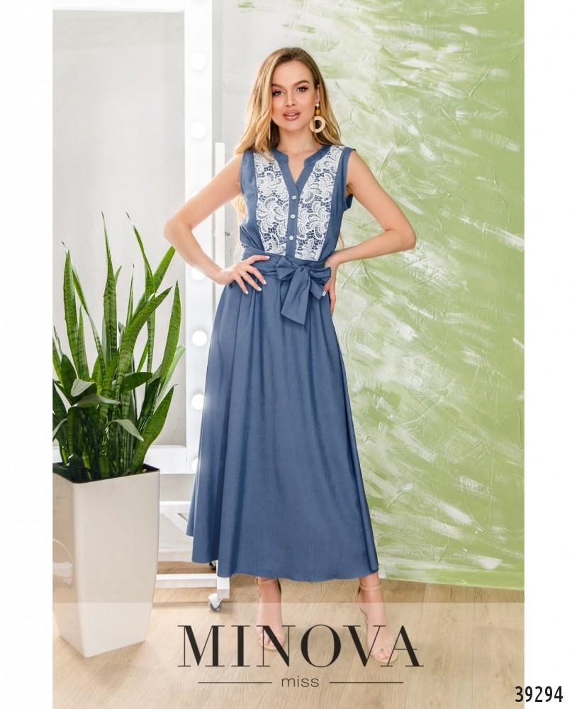 Платье №1906-голубой (н)