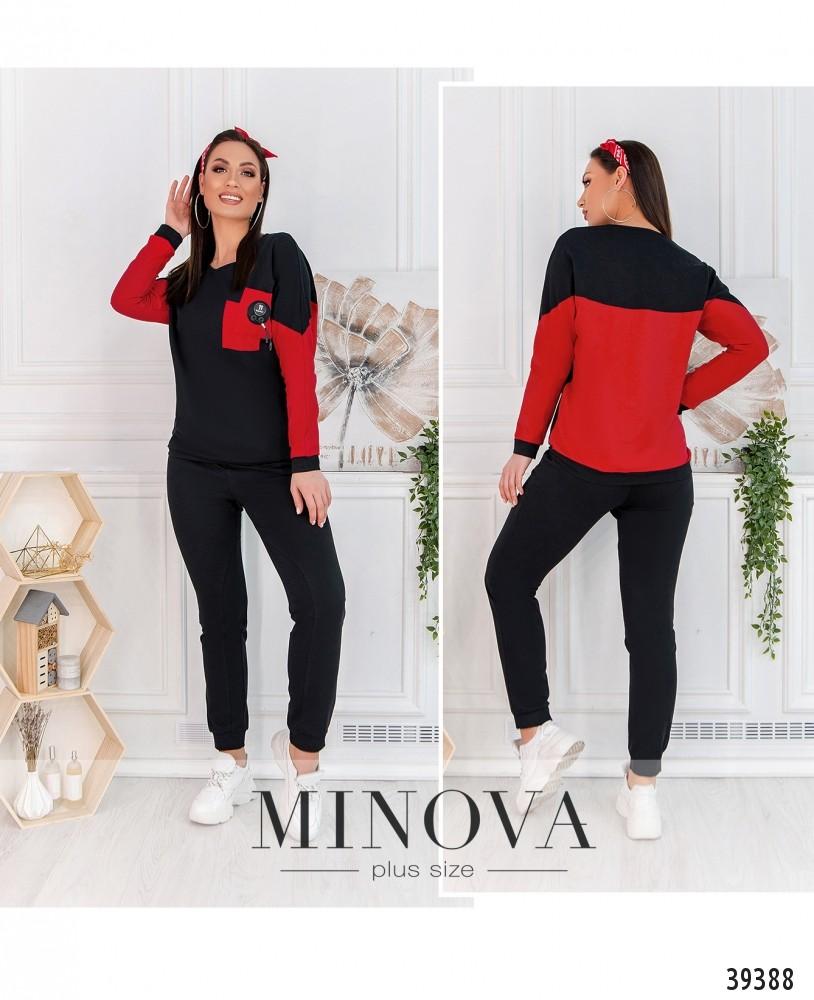 Спортивный костюм №3261-черный-красный