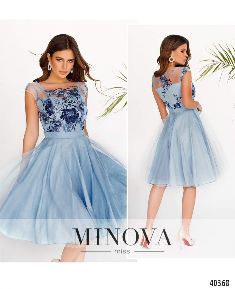 Платье №2103-Голубой-М