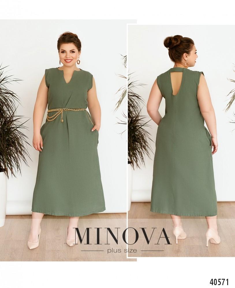 Платье №129Б-хаки-М