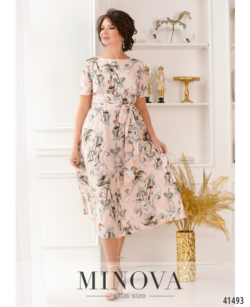 Платье MA18-22-розово-серый