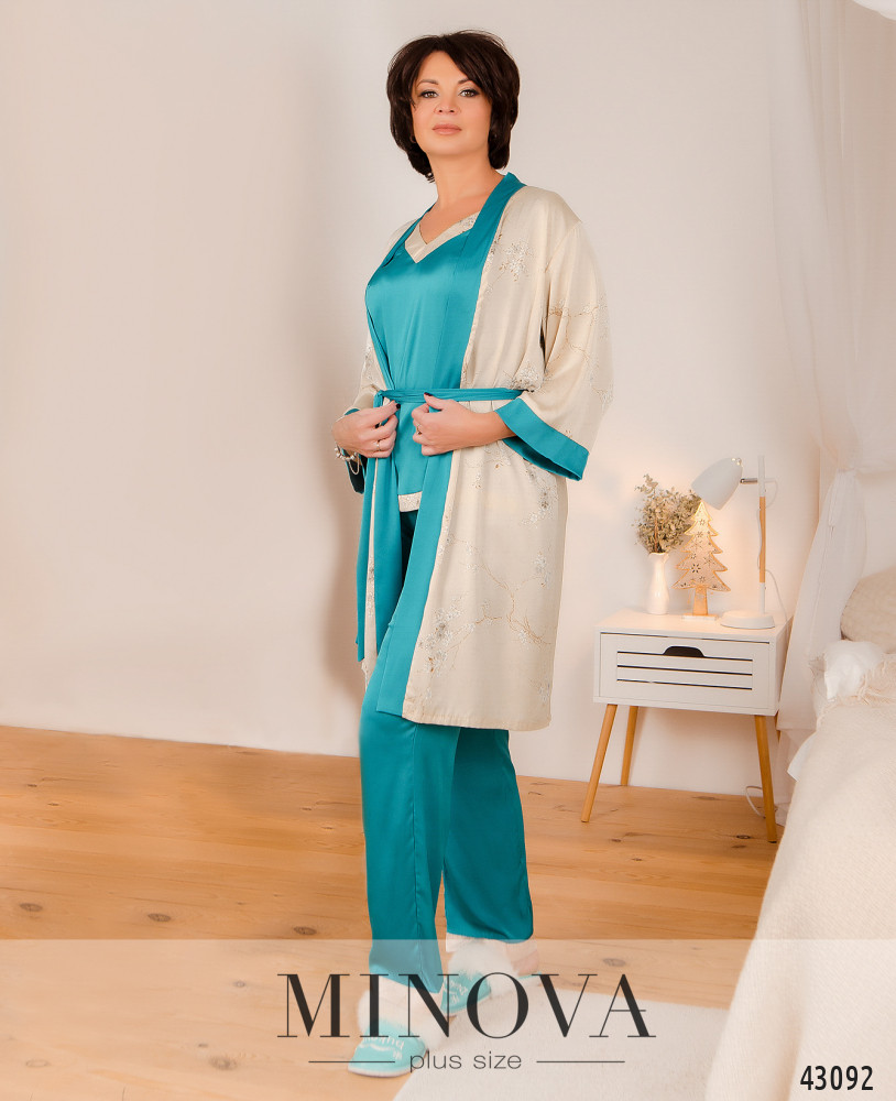 Пижамный костюм 3ка MA2097Б-бирюзовый