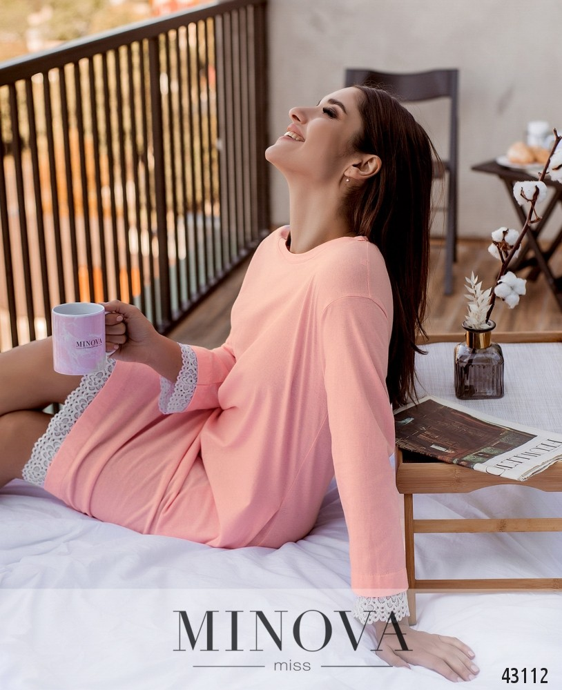 Домашнее платье MA2090-розовый (н)