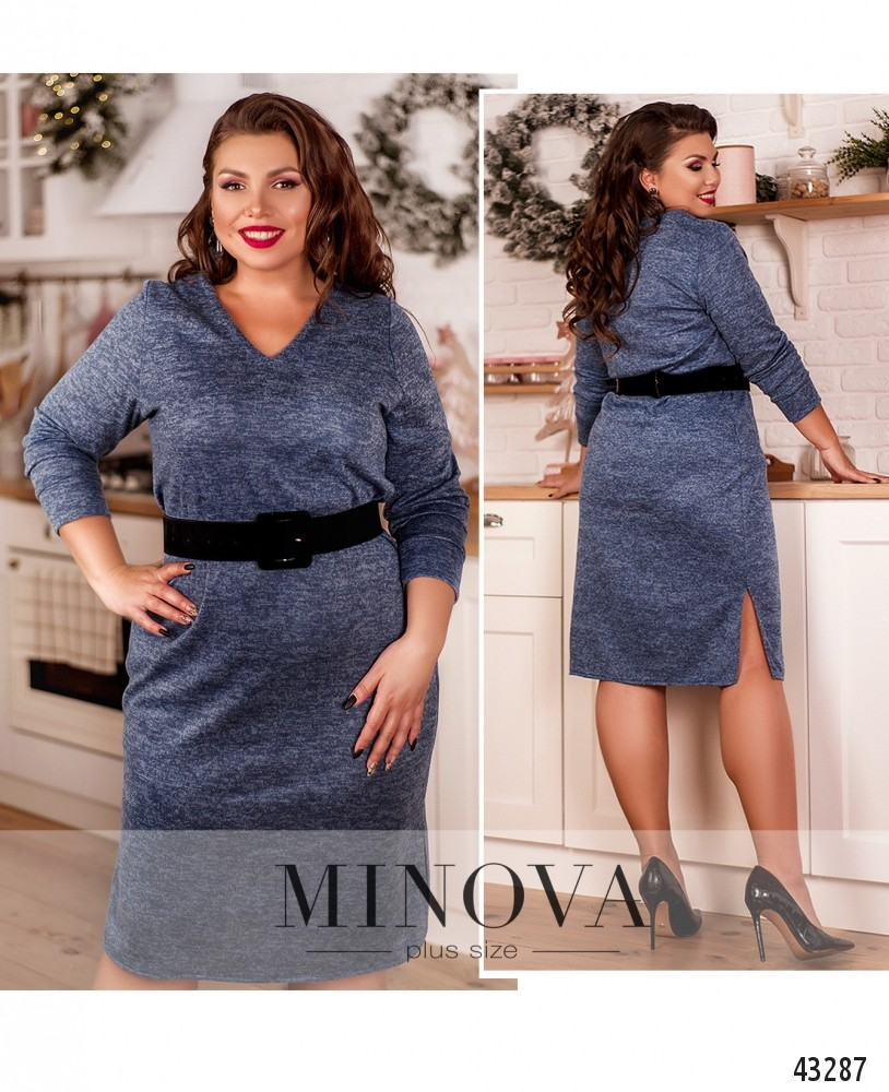 Платье №2078-1-голубой-М