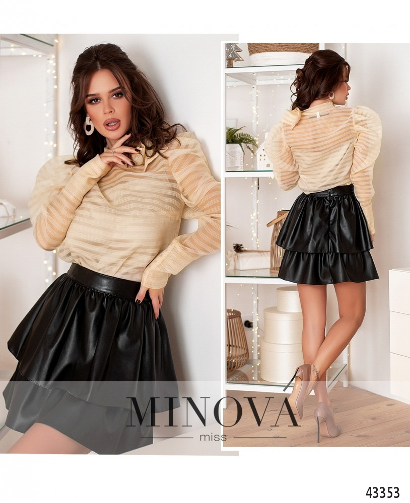 Блуза №225-бежевый-М