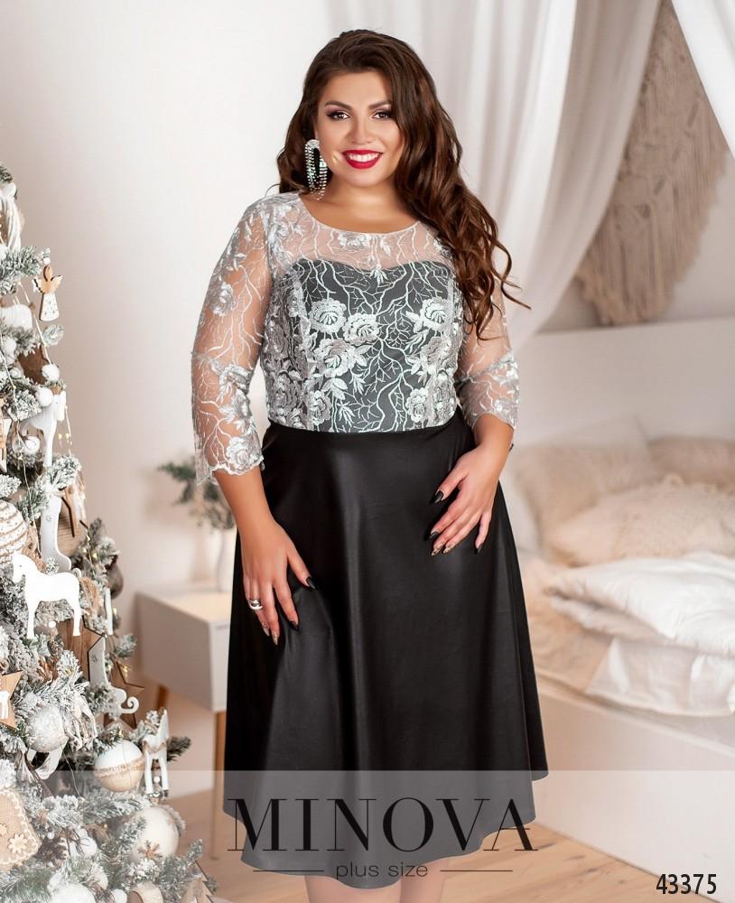 Платье №18-037-черный-серебро