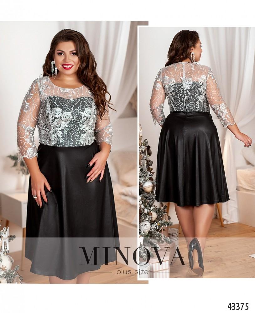 Платье №18-037-черный-серебро-М