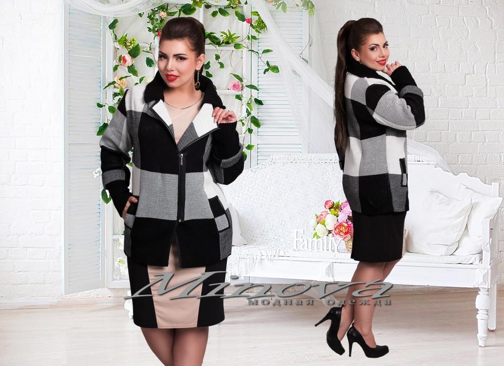 Курточка №82-черный+белый клетка