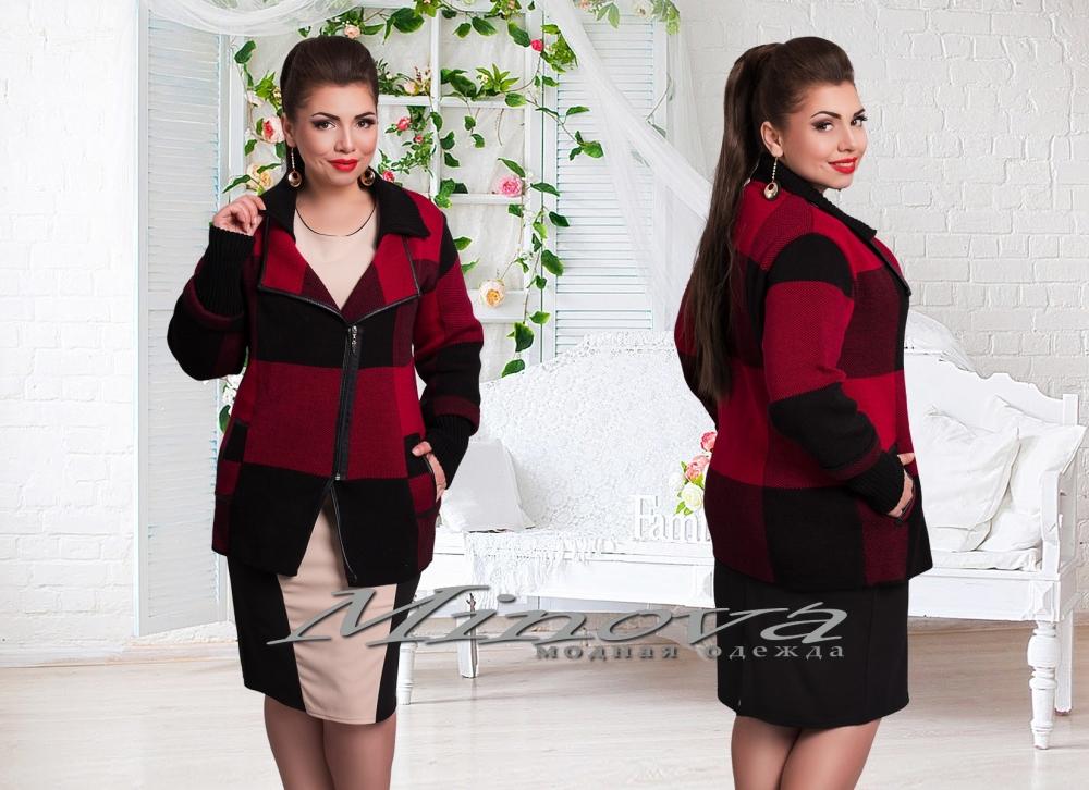 Курточка №82-черный+красный клетка