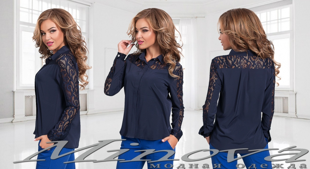 Рубашка №2004-темно-синий (sale)