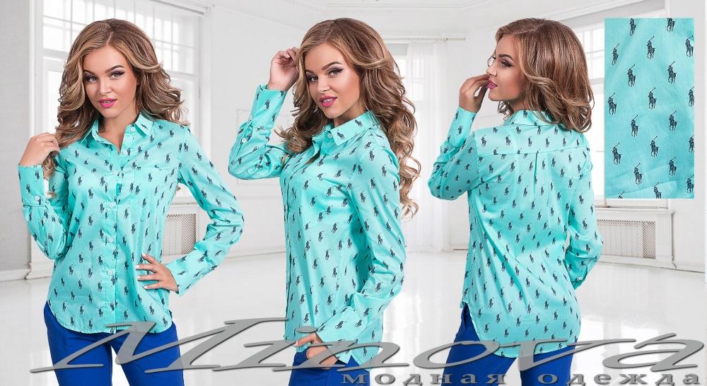 Рубашка №2003-мята (sale)